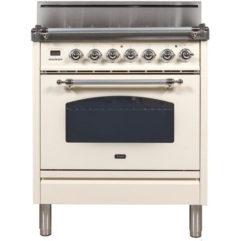 "Image of ILVE 30"" Nostalgie Series Freestanding Liquid Propane Range with 5 Burners 3 cu. ft. Oven Capacity Digital Clock and Timer Full Width Warming Drawer 2 Oven Racks and Chrome Trim: Antique White (UPN76DVGGAXLP) - Shop For Kitchens"