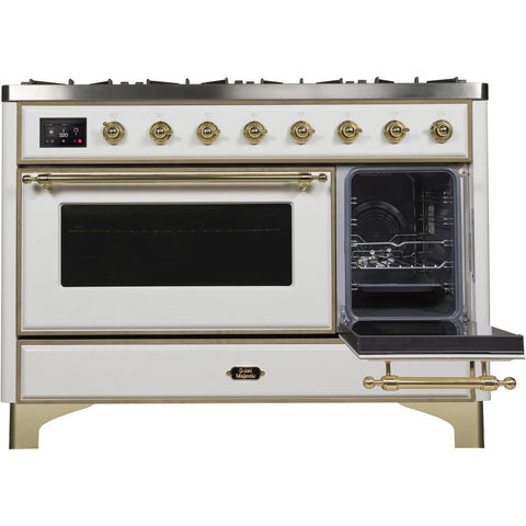 "Image of ILVE 48"" Majestic II Dual Fuel Range with 8 Burners and Brass Trim in White (UM12FDNS3WHG) - Shop For Kitchens"