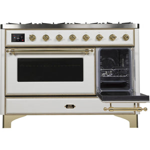 "ILVE 48"" Majestic II Dual Fuel Range with 8 Burners and Brass Trim in White (UM12FDNS3WHG) - Shop For Kitchens"