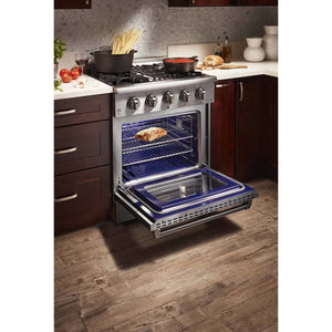 "Pre-Converted Propane THOR Professional 30"" Dual Fuel Range in Stainless Steel (HRD3088ULP) - Shop For Kitchens"