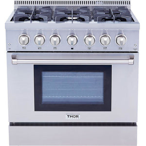 "Pre-Converted Propane THOR Professional 36"" Dual Fuel Range in Stainless Steel (HRD3606ULP) - Shop For Kitchens"
