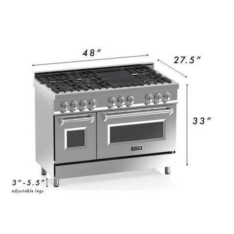 "Image of ZLINE 48"" Professional Dual Fuel Range in Stainless Steel with White Matte Door (RA-WM-48) - Shop For Kitchens"