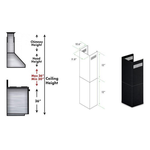 Image of ZLINE 2-12 in. Extension Kit for 7 ft. to 8 ft. Ceilings (SK-BSKEN) - Shop For Kitchens
