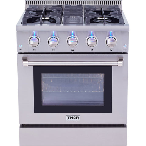 "Thor Kitchen 30"" 4.2 cu. ft. Professional Gas Range in Stainless Steel (HRG3080U) - Shop For Kitchens"