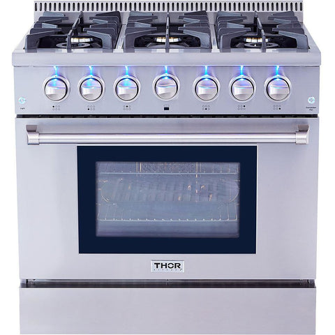 "Thor Kitchen 36"" 5.2 cu. ft. Professional Gas Range in Stainless Steel (HRG3618U) - Shop For Kitchens"