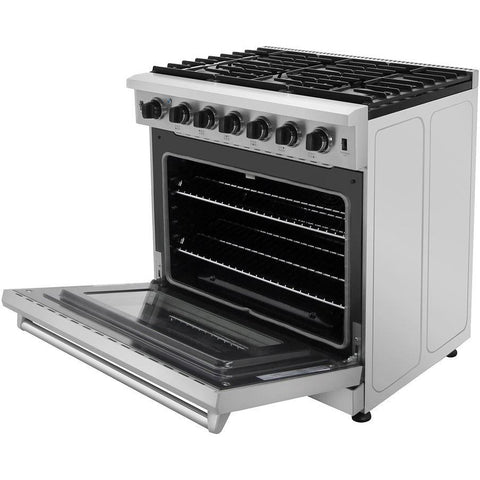 "Thor Kitchen 36"" 6.0 cu. ft. Professional Gas Range in Stainless Steel (LRG3601U) - Shop For Kitchens"