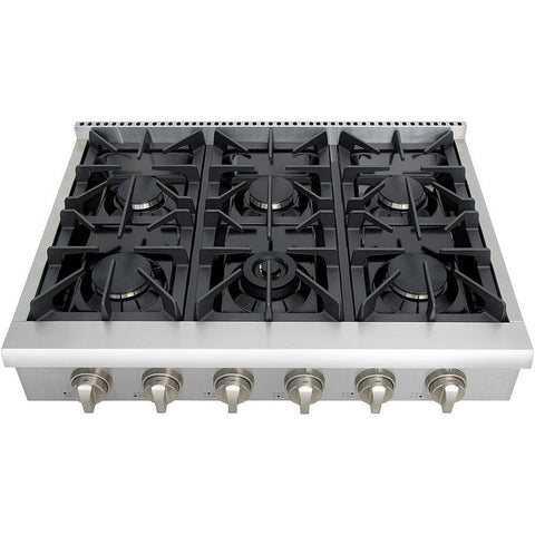 "Image of Thor Kitchen 36"" Gas Cooktop in Stainless Steel with 6 Burners (HRT3618U) - Shop For Kitchens"