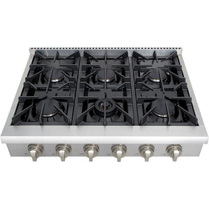 "Thor Kitchen 36"" Gas Cooktop in Stainless Steel with 6 Burners (HRT3618U) - Shop For Kitchens"