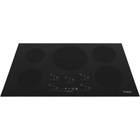"THOR Kitchen 36"" Glass Induction Cooktop in Black with 5 Elements (HIC3601) - Shop For Kitchens"