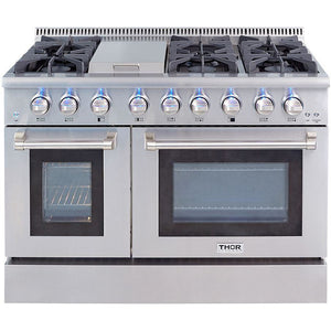 "Thor Kitchen 48"" 6.7 cu. ft. Professional Gas Range in Stainless Steel (HRG4808U) - Shop For Kitchens"