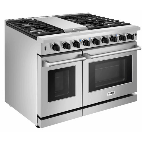 "Thor Kitchen 48"" 6.8 cu. ft. Professional Gas Range in Stainless Steel (LRG4807U) - Shop For Kitchens"