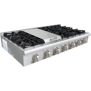 "Thor Kitchen 48"" Gas Cooktop in Stainless Steel with 6 Burners and Griddle (HRT4806U) - Shop For Kitchens"