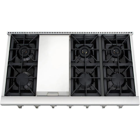 "Image of Thor Kitchen 48"" Gas Cooktop in Stainless Steel with 6 Burners and Griddle (HRT4806U) - Shop For Kitchens"