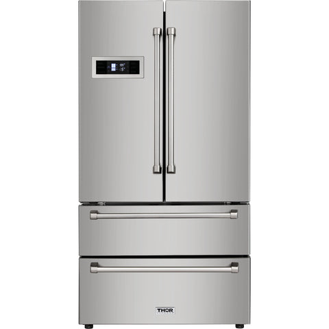 Thor Kitchen French Door Refrigerator in Stainless Steel - Counter Depth - 20.85 cu. ft. (HRF3601F) - Shop For Kitchens