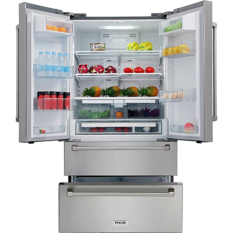 Image of Thor Kitchen French Door Refrigerator in Stainless Steel - Counter Depth - 20.85 cu. ft. (HRF3601F) - Shop For Kitchens