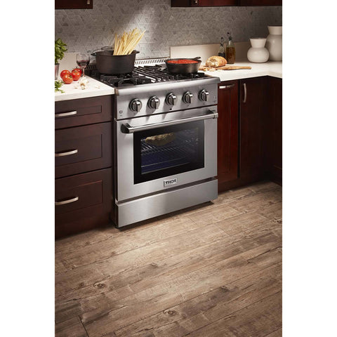 "Image of THOR Professional 30"" Dual Fuel Range in Stainless Steel (HRD3088U) - Shop For Kitchens"