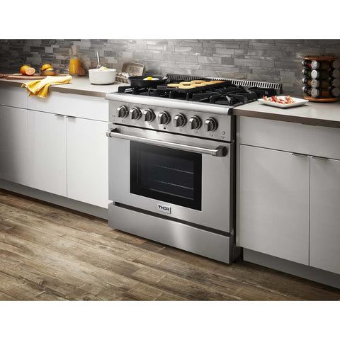 "Image of Pre-Converted Propane THOR Professional 36"" Dual Fuel Range in Stainless Steel (HRD3606ULP) - Shop For Kitchens"