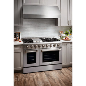 "THOR Professional 48"" Dual Fuel Range in Stainless Steel (HRD4803U) - Shop For Kitchens"