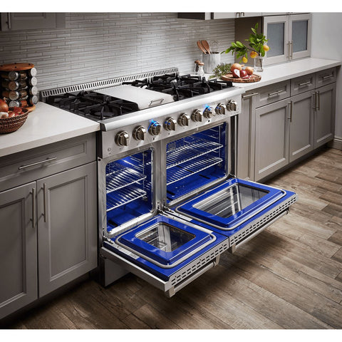 "Image of THOR Professional 48"" Dual Fuel Range in Stainless Steel (HRD4803U) - Shop For Kitchens"