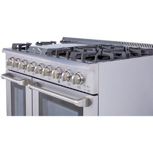 "Pre-Converted Propane THOR Professional 48"" Dual Fuel Range in Stainless Steel (HRD4803ULP) - Shop For Kitchens"