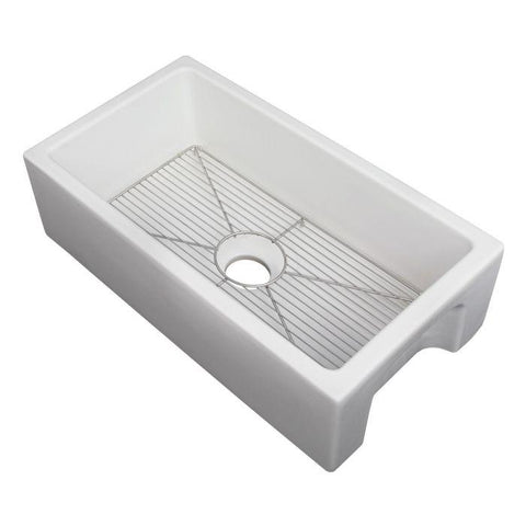 ZLINE Fireclay 30 inch Apron Front Reversible Venice Farmhouse Sink in White Matte with Bottom Grid (FRC5119-WM-30) - Shop For Kitchens
