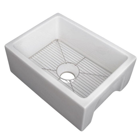 Image of ZLINE Fireclay 24 inch Apron Front Reversible Venice Farmhouse Sink in White Gloss with Bottom Grid (FRC5120-WH-24) - Shop For Kitchens