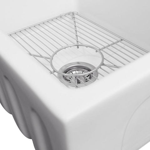 ZLINE Fireclay 24 inch Apron Front Reversible Venice Farmhouse Sink in White Matte with Bottom Grid (FRC5120-WM-24) - Shop For Kitchens