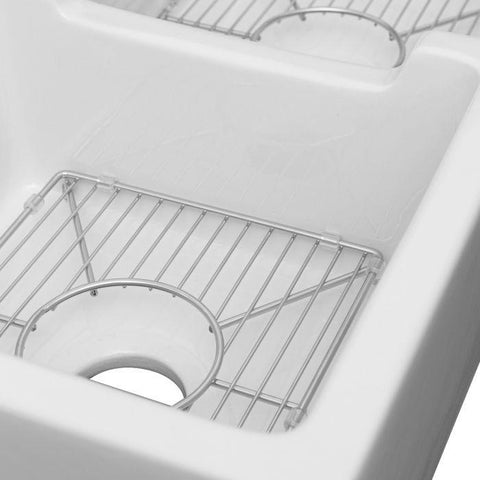 Image of ZLINE Fireclay 36 inch Apron Front Reversible Double Bowl Palermo Farmhouse Sink in White Gloss with Bottom Grid (FRC5121-WH-36) - Shop For Kitchens