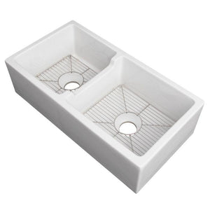 ZLINE Fireclay 36 inch Apron Front Reversible Double Bowl Palermo Farmhouse Sink in White Gloss with Bottom Grid (FRC5121-WH-36) - Shop For Kitchens