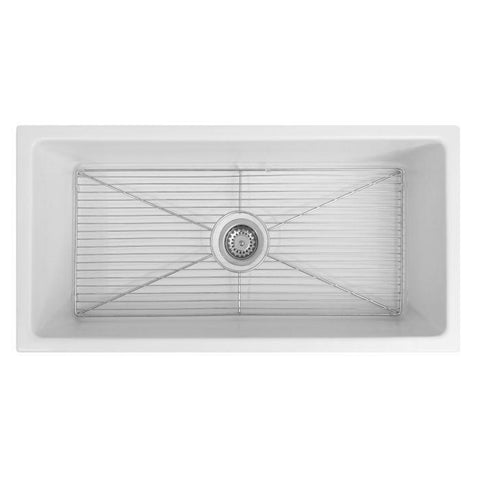 Image of ZLINE Fireclay 36 inch Apron Front Reversible Venice Farmhouse Sink in White Matte with Bottom Grid (FRC5122-WM-36) - Shop For Kitchens
