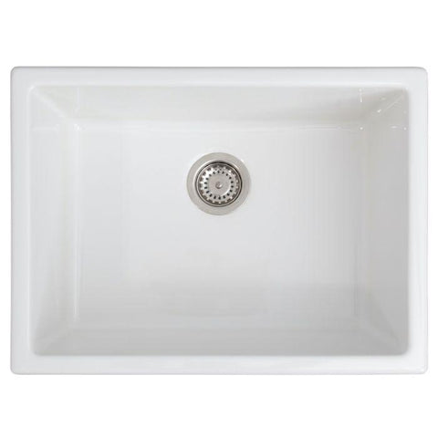 Image of ZLINE 24 inch Rome Dual Mount Fireclay Sink in White Gloss (FRC5123-WH-24) - Shop For Kitchens
