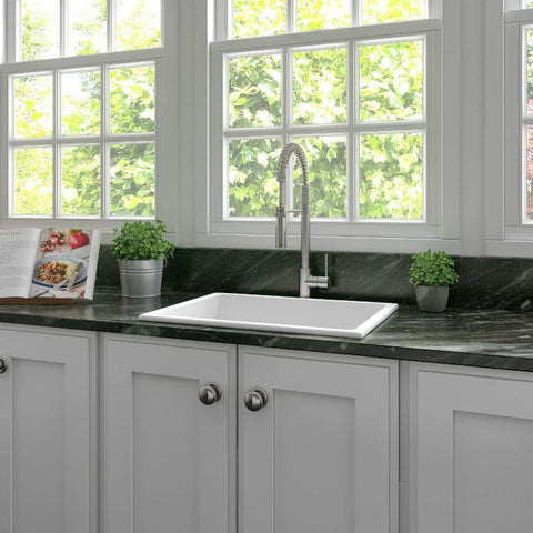 Image of ZLINE 24 inch Rome Dual Mount Fireclay Sink in White Matte (FRC5123-WM-24) - Shop For Kitchens