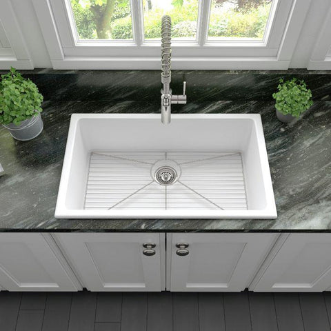 ZLINE 30 inch Rome Dual Mount Fireclay Sink in White Matte (FRC5124-WM-30) - Shop For Kitchens