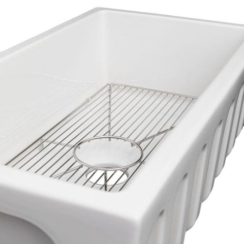 Image of ZLINE Fireclay 33 inch Apron Front Reversible Venice Farmhouse Sink in White Gloss with Bottom Grid (FRC5131-WH-33) - Shop For Kitchens