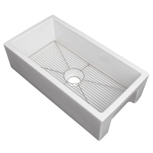 ZLINE Fireclay 33 inch Apron Front Reversible Venice Farmhouse Sink in White Gloss with Bottom Grid (FRC5131-WH-33) - Shop For Kitchens