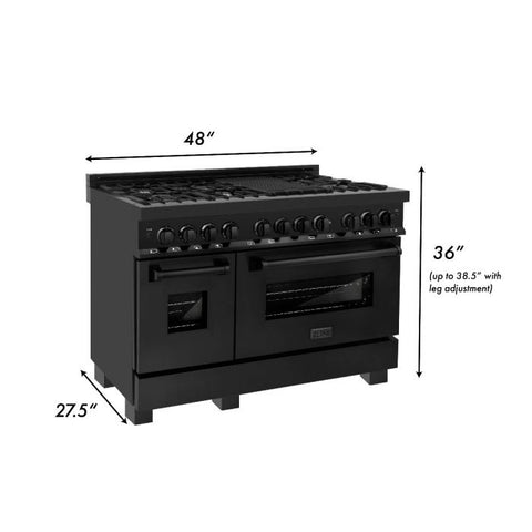 "ZLINE Professional 48"" 6.0 cu. ft. Dual Fuel Range with 7 Gas Burners and Electric Convection Oven in Black Stainless Steel (RAB-48) - Shop For Kitchens"