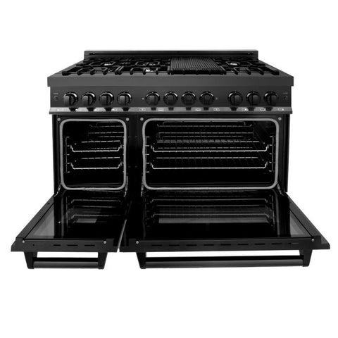 "Image of ZLINE Professional 48"" 6.0 cu. ft. Dual Fuel Range with 7 Gas Burners and Electric Convection Oven in Black Stainless Steel (RAB-48) - Shop For Kitchens"
