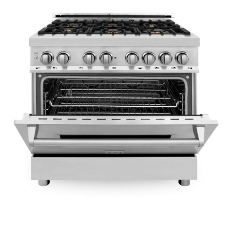 ZLINE 36 In. Professional 4.6 Cu. Ft. 4 Gas Burner/Electric Oven Range In Stainless Steel With Brass Burners (RA-BR-36)
