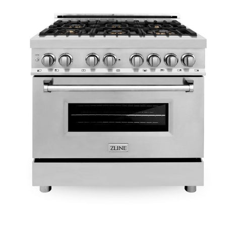 Image of ZLINE 36 In. Professional 4.6 Cu. Ft. 4 Gas Burner/Electric Oven Range In Stainless Steel With Brass Burners (RA-BR-36) - Shop For Kitchens