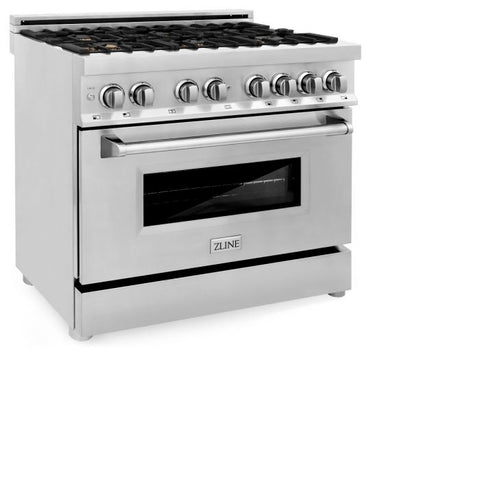 Image of ZLINE 36 In. Professional 4.6 Cu. Ft. 4 Gas Burner/Electric Oven Range In Stainless Steel With Brass Burners (RA-BR-36)