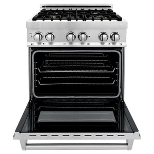 ZLINE 30 In. Professional 4.0 Cu. Ft. 4 Gas Burner with Electric Oven Range In Stainless Steel With Brass Burners (RA-BR-30) - Shop For Kitchens