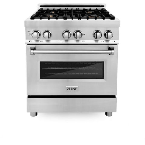 Image of ZLINE 30 In. Professional 4.0 Cu. Ft. 4 Gas Burner with Electric Oven Range In Stainless Steel With Brass Burners (RA-BR-30) - Shop For Kitchens