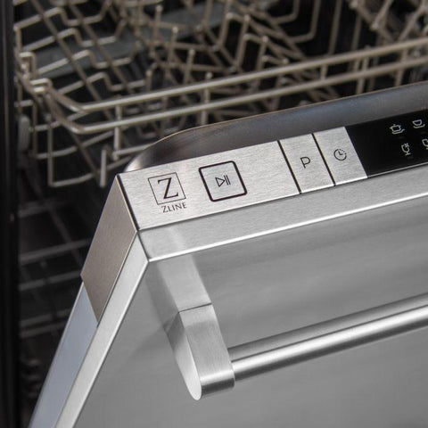 Image of ZLINE 24 inch Top Control Dishwasher in Stainless Steel with Traditional Style Handle (DW-304-H-24) - Shop For Kitchens