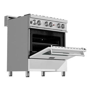 "ZLINE 30"" Professional Dual Fuel Range in DuraSnow® Stainless Steel with White Matte Door (RAS-WM-30) - Shop For Kitchens"