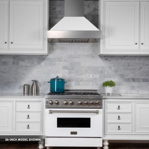 "Image of ZLINE 30"" Professional Dual Fuel Range in DuraSnow® Stainless Steel with White Matte Door (RAS-WM-30) - Shop For Kitchens"