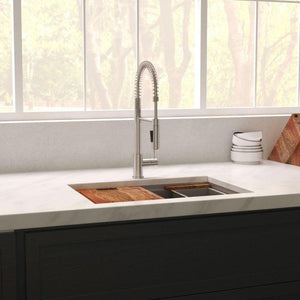 ZLINE 33 inch Garmisch Undermount Single Bowl Sink in DuraSnow® Stainless Steel with Accessories (SLS-33S) - Shop For Kitchens