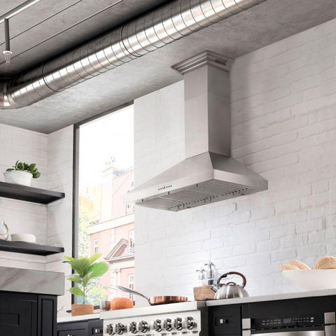 ZLINE 36 inch Stainless Steel Wall Range Hood with Built-in CrownSound® Bluetooth Speakers (KL3CRN-BT-36) - Shop For Kitchens