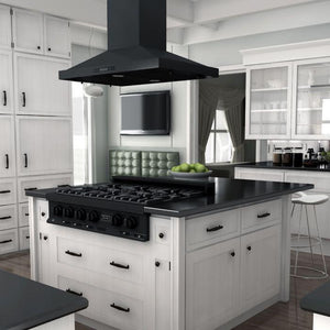 "ZLINE 36"" Porcelain Rangetop in Black Stainless with 6 Gas Burners (RTB-36) - Shop For Kitchens"