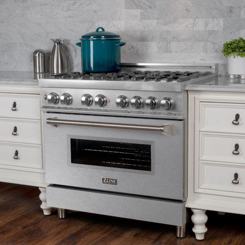 "Image of ZLINE 36"" Professional Dual Fuel Range in DuraSnow® Stainless Steel with DuraSnow® Finish Door (RAS-SN-36) - Shop For Kitchens"