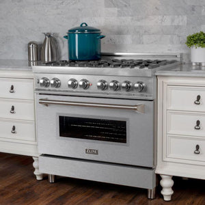 "ZLINE 36"" Professional Dual Fuel Range in DuraSnow® Stainless Steel with DuraSnow® Finish Door (RAS-SN-36) - Shop For Kitchens"